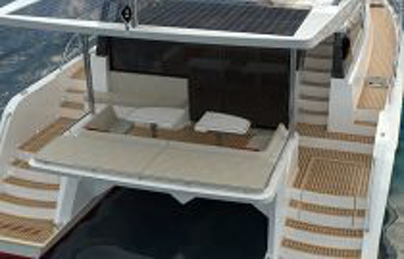 photo of Sunpower 44 aft cockpit sunpads